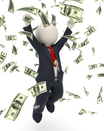 loteria: 3d rindi� hombre de negocios feliz saltando de alegr�a y victoria en la lluvia de dinero Foto de archivo