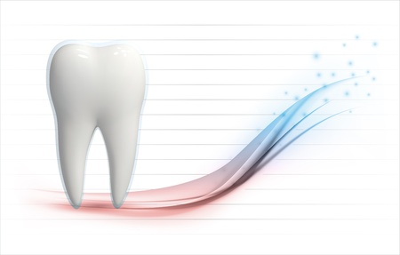 Vector illustration of a white 3d tooth on a health level graph template with copyspace