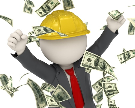construction icon: 3d rendered construction worker jumping for joy among money rain Stock Photo