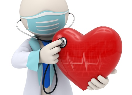 3d rendered doctor examining a big red heart with a stethoscope and the heart reflecting a cardiogram Stock Photo
