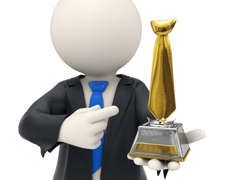 awarded: 3d rendered business man just got awarded and holding a gold tie trophy in his hands - business awards concept