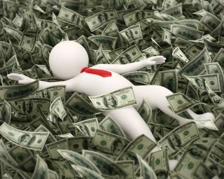 falling money: 3d rendered business man just got lucky and rich and he is swimming in money ocean Stock Photo