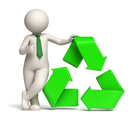 3d rendered man standing near a green recycle icon or symbol showing thumbs up