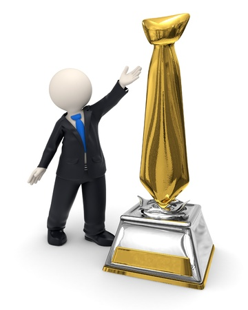 3d rendered business man showing a gold tie shaped trophy award Stock Photo - 16843922