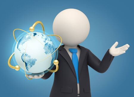 3d rendered business man holding an earth globe in his hand surrounded by gold atomic powers Stock Photo - 16843923