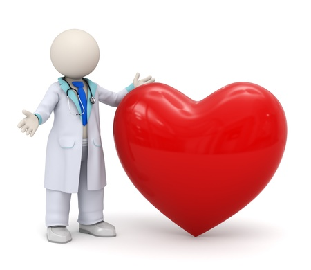 3d render of a doctor standing near a big red heart - cardiology icon
