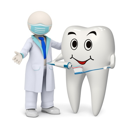 3d photo-realistic render of a 3d dentist and a smiling tooth holding a toothpaste and a toothbrush in his hands
