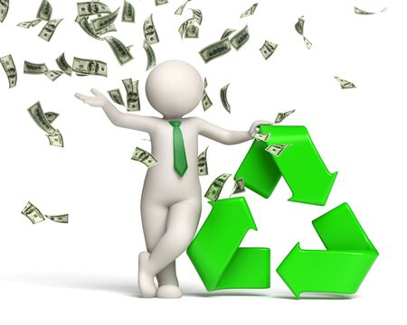 3d rendered happy man standing in a money rain near a green recycle symbol