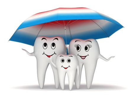 higiene bucal: 3d familia diente sonriente de pie bajo un gran paraguas de la pasta de dientes recubiertos - concepto de protección de la salud Foto de archivo