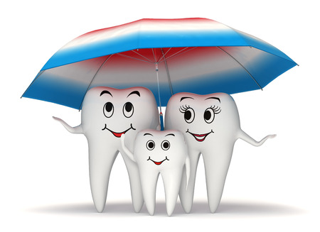 oral hygiene: 3d smiling tooth family standing under a big toothpaste coated umbrella - health protection concept