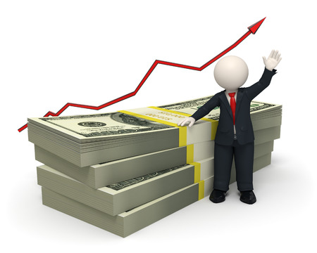 3d rendered succesful business man waving near a pack of money with a red graph arrow photo