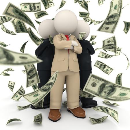 3d teruggegeven zelfverzekerde en succesvolle business team staan rug aan rug in US Dollar geld regen