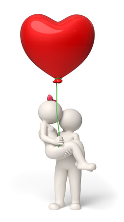 white person: 3d rendered couple in love on Valentines day with a red heart balloon in her hand