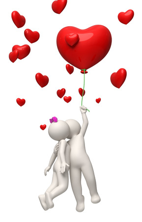 baiser amoureux: 3D, rendu quelques voler avec un ballon rouge de coeur le jour de Valentines et les baisers