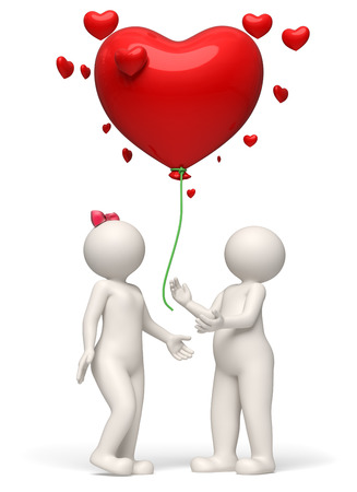 releasing: 3d rendered white couple releasing a big red heart balloon for Valentines day - Wishes concept