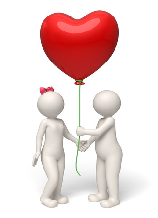 cute guy: 3d rendered cute couple - Guy giving her lady a big red heart balloon for valentines day