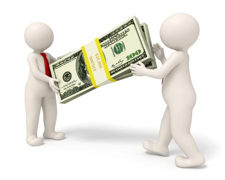 3d teruggegeven business man het overhandigen van een groot pak geld aan zijn partner