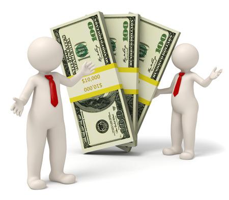 money packs: 3d rendered successful business people presenting packs on money