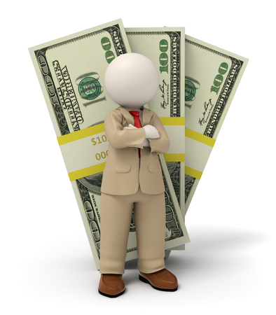 3d rendered business man in beige suit standing in front of one hundred dollar packs photo