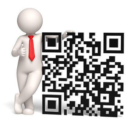 3d rendered business man showing thumbs up near a big 3d matrix barcode aka QR code Stock Photo