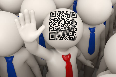 3d rendered business people and one of them with a red tie and matrix barcode aka QR code on his head, waving photo