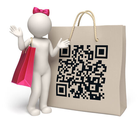 3d rendered woman standing near a giant shopping bag with printed matrix barcode aka QR code photo