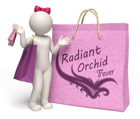 3d rendered lady with giant lilac, radiant orchid, purple shopping bags and radiant orchid fever text Stock Photo - 27719876