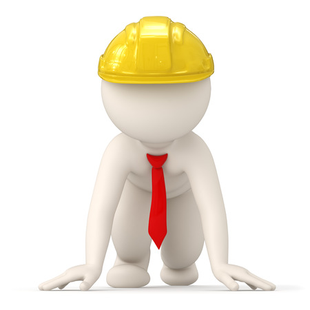 crouch: 3d rendered successful constructor business man at start of competition for success