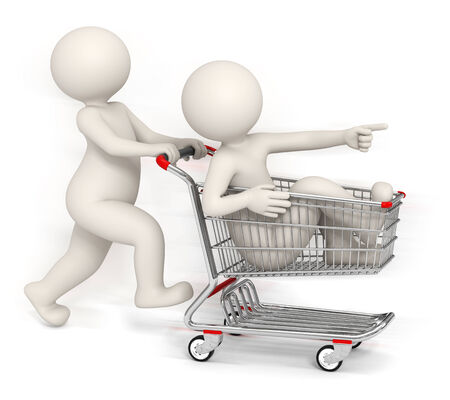 3d rendered people running with shopping cart to catch the promotion in the store