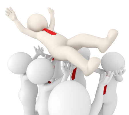 throw up: 3d rendered successful team leader tossed in air by his team - Team success concept