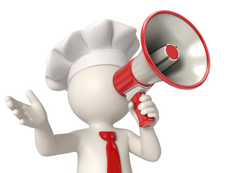 3d rendered chef speaking out in a red megaphone photo