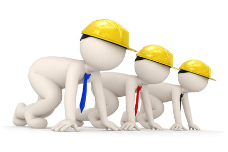 to crouch: 3d rendered builder business men starting a competition for success