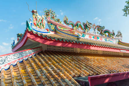 trave: Chinese temple roof with blue sky in the island