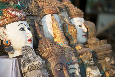 souvenir traditional: Myanmar souvenir,traditional mask in Myanmar soft focus. Stock Photo