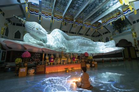 Reclining Buddha at wat pa phu kon, Udon Thani, Thailand.
