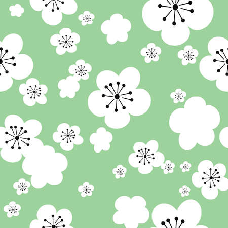 Vector pastel green background white cherry flowers sakura, 60ies 70ies vintage hippy flowers, seamless pattern background
