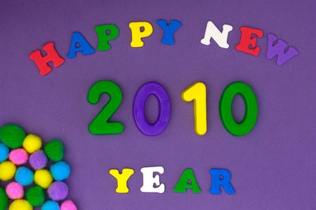 Happy new year greeting in bright colours