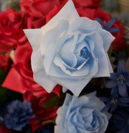 A paper blue rose for flower arrangements