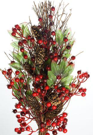 Chrismas floral display on white