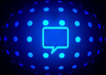 Blue neon globe with speech bubble Stock Photo