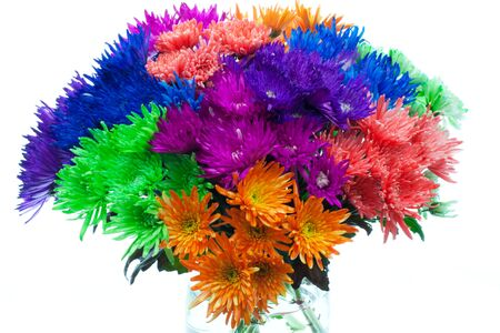 Bouquet of fresh flowers in very bright colors