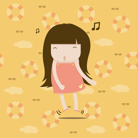 good mood: A girl in a good mood and jump around because she love summer so much