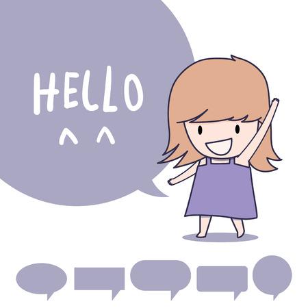 say hello: girl standing and say hello Illustration