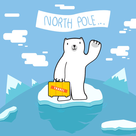 north pole: polar bear Welcome to north pole Illustration