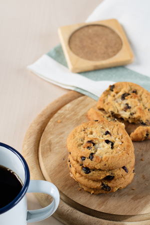 chocolate biscuit: cookie and black coffee in vintage style cup