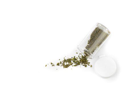 intoxication: marijuana in medicine bottle on white background,isolated object