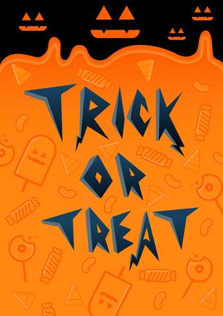tratar: Trick or Treat cute Halloween font design with candy background Ilustração