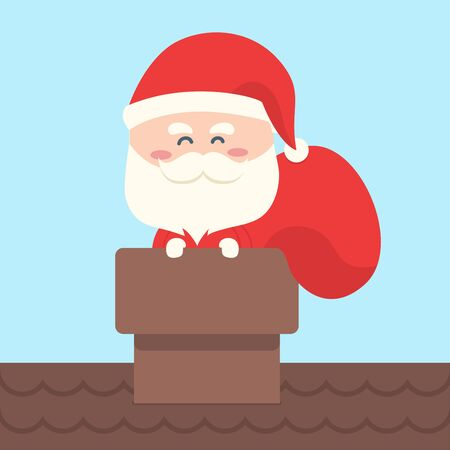 gift bag: Santa Claus in a chimney with gift bag for christmas
