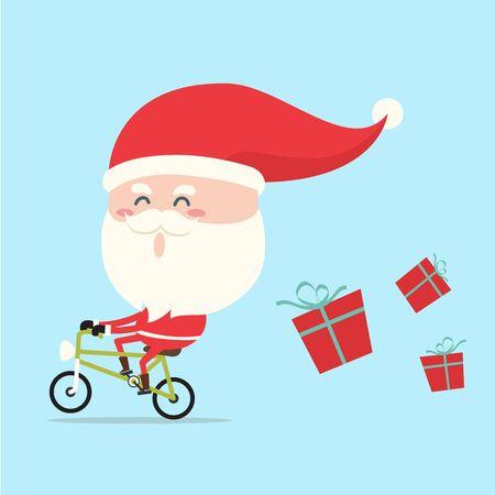 santa claus cartoon: santa claus riding bicycle in christmas
