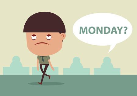 sleepless: Business man sleepless walking and boring to work in monday